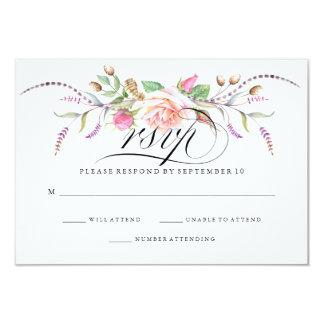 Elegante Boho botanische BlumenRosen, die UAWG Karte