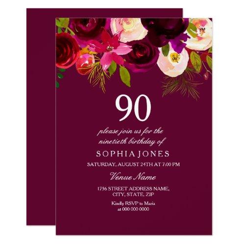 Elegante Burgunder Blumen 90. Geburtstag Laden Ein 11,4 X 15, ...