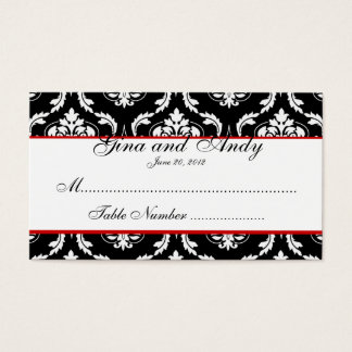 Elegante Damast-Hochzeits-Sitzplatz-Karte Visitenkarte