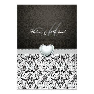 Elegante Damast-Monogramm-Hochzeit UAWG Karte 8,9 X 12,7 Cm Einladungskarte