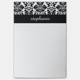 Elegante Damast-Muster mit Schwarzweiss Post-it Klebezettel