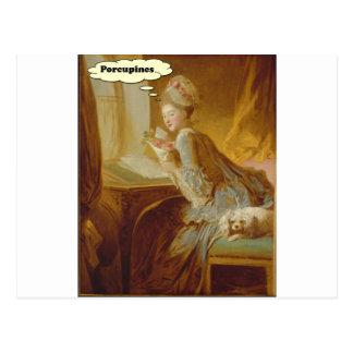 Elegante Dame Thinks About Porcupines Postkarte