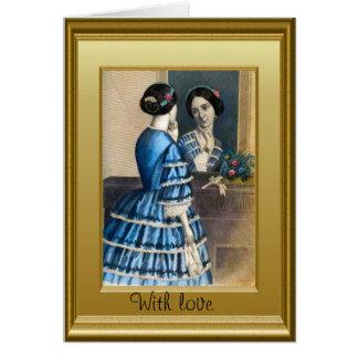 Elegante Damen, schauend im Spiegel Karte