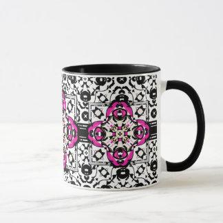 Elegante dekorative Damast-Fuchsie und Schwarzes Tasse