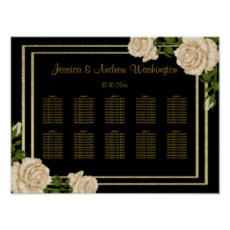 Elegante Eckelfenbein-Rosen, die Poster