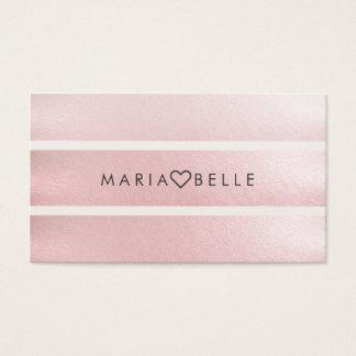 Elegante einfache rosa weiße Imitatfolie striped Visitenkarten
