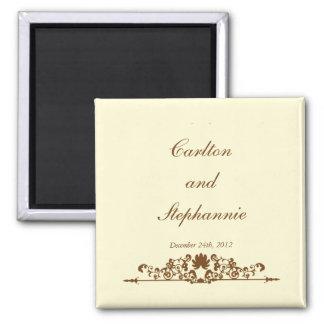 Elegante Elfenbein- Brown-Hochzeits-Magnet-Bevorzu Kühlschrankmagnet
