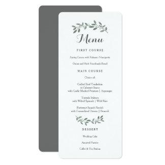 Elegante Eukalyptus-Hochzeits-Reihen-Menü-Karte Karte