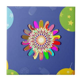 Elegante Feier: Blauer Blumen-Schein-Ballon Keramikfliese