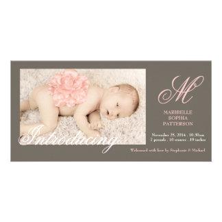Elegante Foto-Baby-Mädchen-Geburts-Mitteilung Individuelle Foto Karte