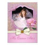 Elegante Foto-Rosa-Schmetterlings-Rose Quinceanera Ankündigungen