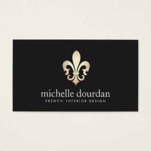 Elegante Französische Innenarchitekt GoldLilie Visitenkarte