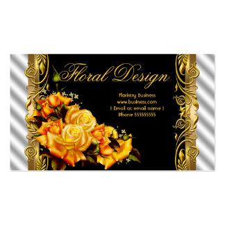 Elegante gelbe Rosen-Schwarz-weißer Goldflorist 2 Visitenkarten Vorlagen