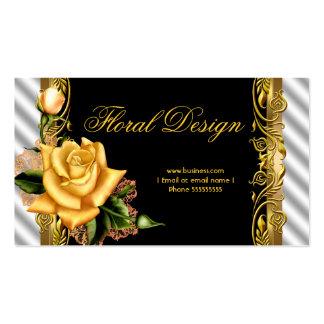 Elegante gelbe Rosen-Schwarz-weißer Goldflorist Visitenkarte