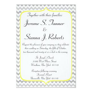 Elegante gelbe und graue Zickzack 12,7 X 17,8 Cm Einladungskarte