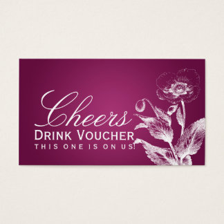 Elegante Getränk-Beleg-Mohnblumen-Rosa-Beere Visitenkarte