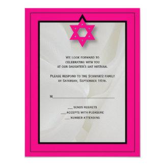Elegante Gewebe-Schläger Mitzvah Antwort-Karte im 10,8 X 14 Cm Einladungskarte