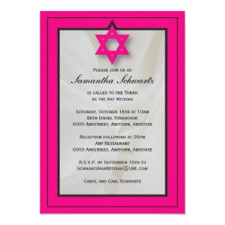 Elegante Gewebe-Schläger Mitzvah Einladung im Rosa