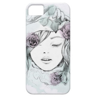 Elegante gezeichnete Frauenillustration des iPhone 5 Schutzhülle