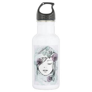 Elegante gezeichnete Frauenillustration des Trinkflasche