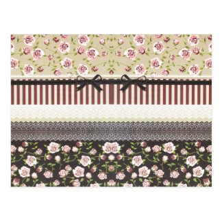 Elegante Girly weiße Spitze und rosa Rosen Postkarte
