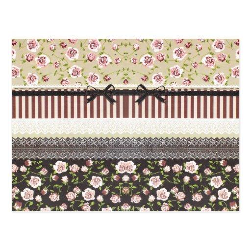 Elegante Girly weiße Spitze und rosa Rosen Postkarten