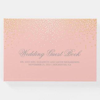 Elegante Goldconfetti-Punkte erröten rosa Hochzeit Gästebuch