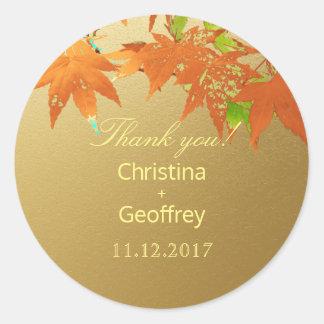 Elegante goldene Herbst-Ahorn-Hochzeit danken Runder Aufkleber