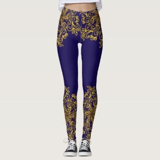 Elegante goldene Mandala dunkelblau Leggings