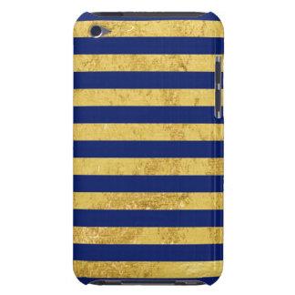 Elegante Goldfolie und blauer Streifen-Muster Barely There iPod Cover