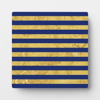 Elegante Goldfolie und blauer Streifen-Muster Fotoplatte