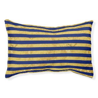 Elegante Goldfolie und blauer Streifen-Muster Haustierbett