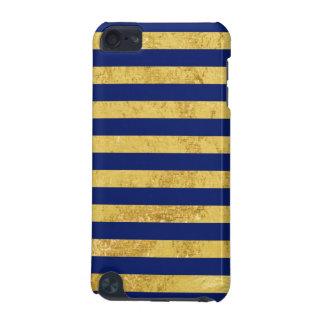 Elegante Goldfolie und blauer Streifen-Muster iPod Touch 5G Hülle
