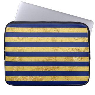 Elegante Goldfolie und blauer Streifen-Muster Laptopschutzhülle