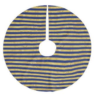Elegante Goldfolie und blauer Streifen-Muster Polyester Weihnachtsbaumdecke