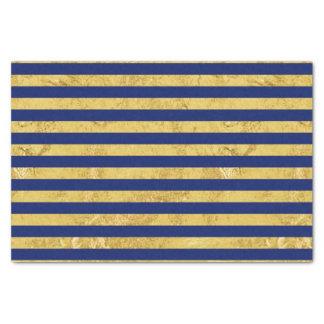 Elegante Goldfolie und blauer Streifen-Muster Seidenpapier
