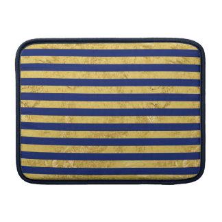 Elegante Goldfolie und blauer Streifen-Muster Sleeve Fürs MacBook Air
