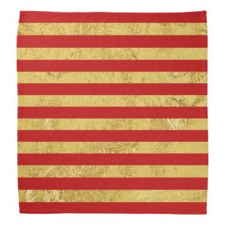 Elegante Goldfolie und rotes Streifen-Muster Kopftuch