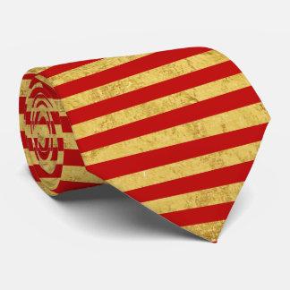 Elegante Goldfolie und rotes Streifen-Muster Krawatte