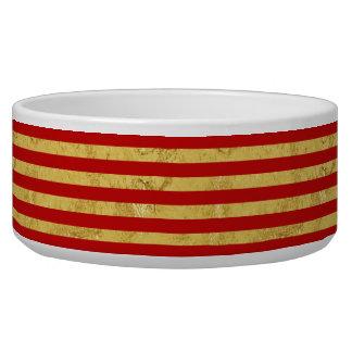 Elegante Goldfolie und rotes Streifen-Muster Napf