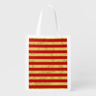 Elegante Goldfolie und rotes Streifen-Muster Wiederverwendbare Einkaufstasche