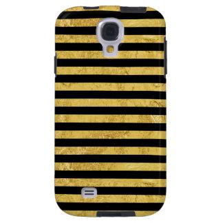 Elegante Goldfolie und schwarzes Streifen-Muster Galaxy S4 Hülle