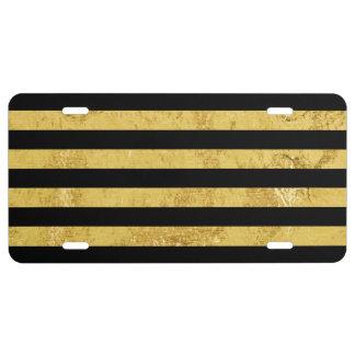 Elegante Goldfolie und schwarzes Streifen-Muster US Nummernschild