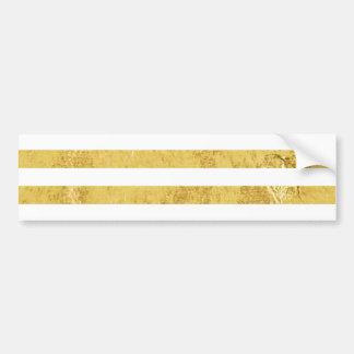 Elegante Goldfolie und weißes Streifen-Muster Autoaufkleber
