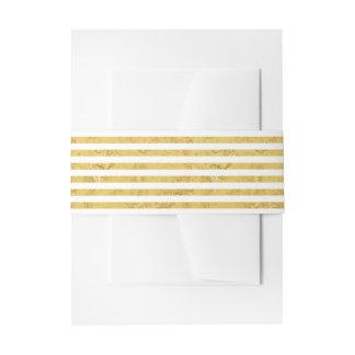Elegante Goldfolie und weißes Streifen-Muster Einladungsbanderole