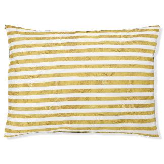 Elegante Goldfolie und weißes Streifen-Muster Haustierbett