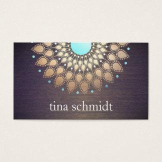Elegante Goldfolie Verziert Blatt Mandala Holz Visitenkarten