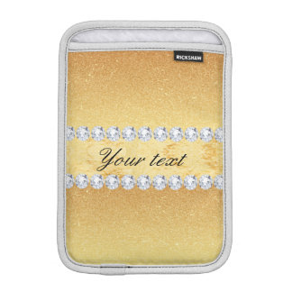 Elegante GoldGlitter-Folie und Diamanten iPad Mini Sleeve