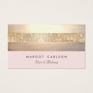 Elegante GoldPaillette hellrosa gestreifter *NO Visitenkarte