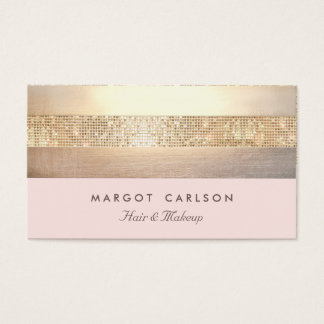 Elegante GoldPaillette hellrosa gestreifter *NO Visitenkarten